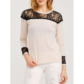 Long Sleeve T Shirt With Lace Trim