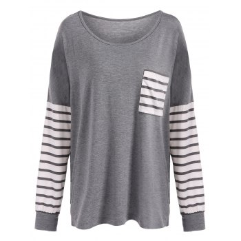 Drop Shoulder Stripe Pocket T-Shirt