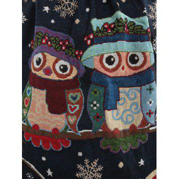 Sleeveless Owl Graphic Fit and Flare Dress - BLACK BLACK