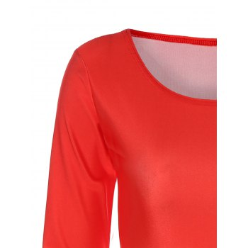 Long Sleeve Ombre Slimming Dress - RED RED