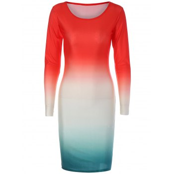 Long Sleeve Ombre Slimming Dress