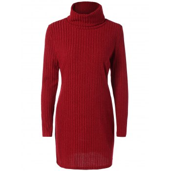 Turtleneck Ribbed Mini Sweater Dress
