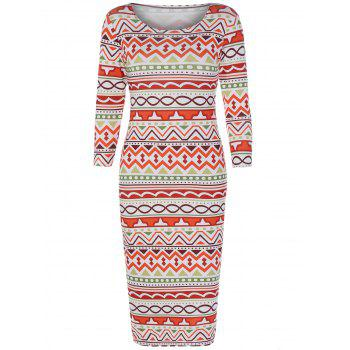 Geometric Print Zig Zag Skinny Dress