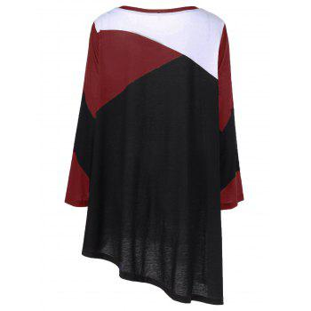 Plus Size Abstract Print Asymmetrical T-Shirt - RED 4XL
