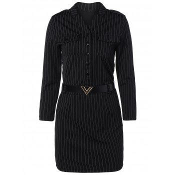 Striped Button Design Belted Dress