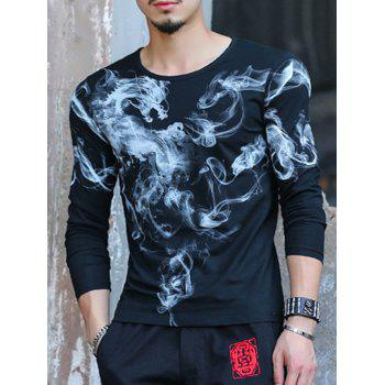Long Sleeve Abstract Print Casual T-Shirt