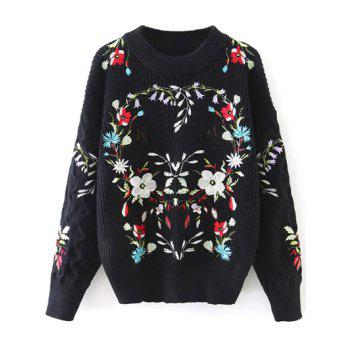 Crew Neck Floral Embroidered Jumper