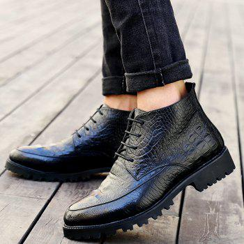 Lace Up Embossing PU Leather Boots - BLACK 40