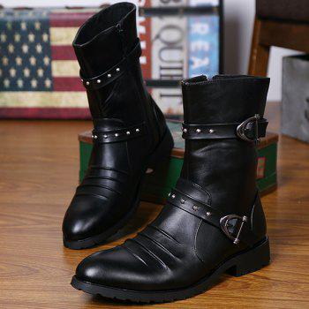 Ruched Mid Calf Buckle Straps Boots - BLACK 43