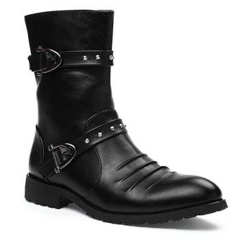 Ruched Mid Calf Buckle Straps Boots