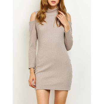 Long Sleve High Neck Cold Shoulder Ribbed Bodycon Sweater Dress