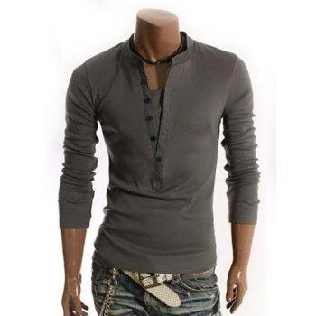 V-Neck Long Sleeve Half Button Embellished T-Shirt
