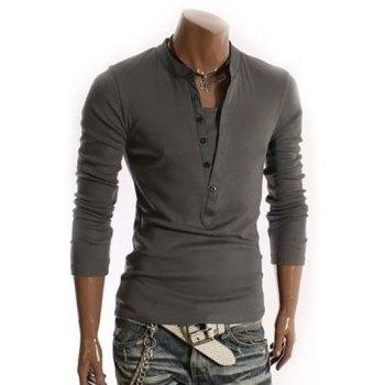 V-Neck Long Sleeve Half Button Embellished T-Shirt - DEEP GRAY DEEP GRAY