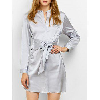 Mini Satin Shirt Dress with Sleeves
