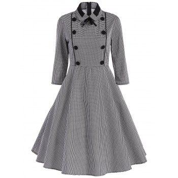 Retro Bowknot Houndstooth Swing Dress