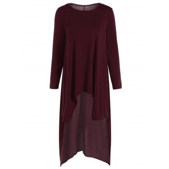 Casual Long Sleeve High Low Maxi Dress