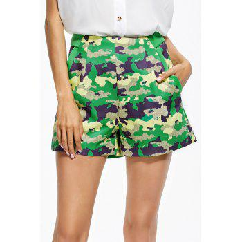 Zippered Camo Shorts
