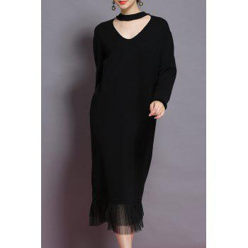 Chocker Neck Pleated Trim Sweater Dress