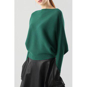 Ribbed Batwing Sleeve Boat Neck Sweater