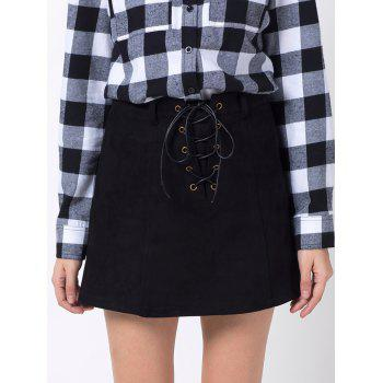 A Line Mini Winter Skirt - BLACK BLACK