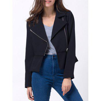 Asymmetrical Zip Up Peplum Blazer
