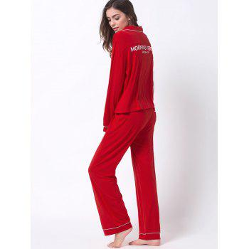 Letter Print Lapel Long Sleeve Sleepwear Sets - RED RED