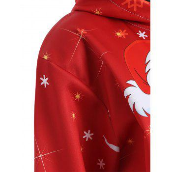 Christmas Plus Size Snowman Kangaroo Pocket Hoodie - RED RED