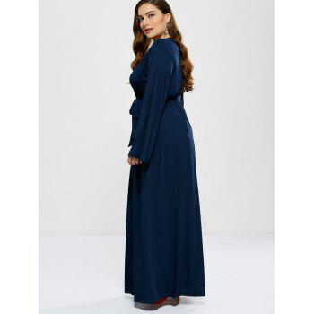 Plus Size Long Sleeve Modest Maxi Formal Dress - DEEP BLUE L