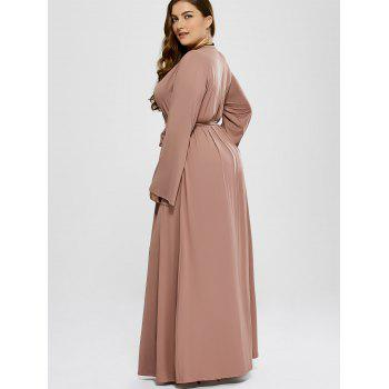 plus size long sleeve modest maxi formal dress, khaki, xl in plus