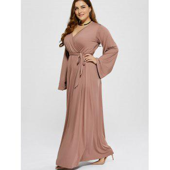 Plus Size Long Sleeve Modest Maxi Formal Dress - KHAKI XL