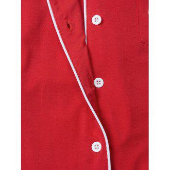 Letter Print Lapel Long Sleeve Sleepwear Sets - RED 2XL