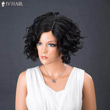 Side Parting Short Curly Shaggy Siv Human Hair Wig - JET BLACK