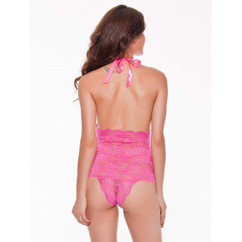 Halter Open Back Lace Teddy - HOT PINK HOT PINK