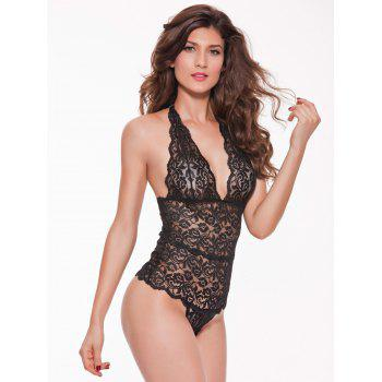 Halter Open Back Lace Teddy - BLACK BLACK