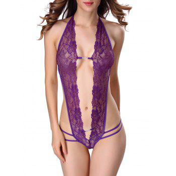 Backless Halter Cut Out Lace Teddy - PURPLE L