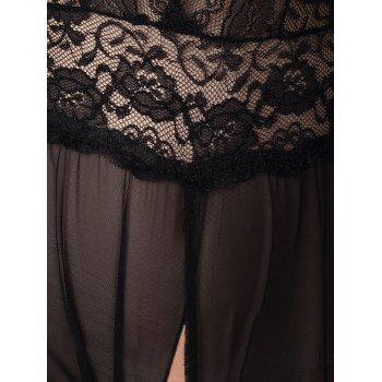 Lace Insert Cut Out Mesh Teddy - BLACK S