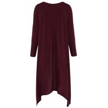Casual Long Sleeve High Low Maxi Dress - WINE RED S