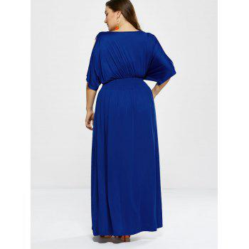 Plus Size Long Cold Shoulder Maxi Prom Dress - ROYAL L