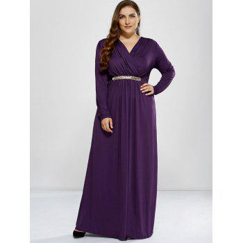 Plus Size Long Sleeve Surplice Prom Dress - PURPLE L