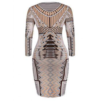 Geometric Print Skinny Slimming Dress - APRICOT L