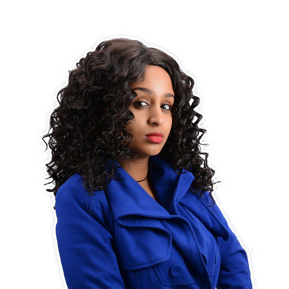 Prevailing Long Centre Parting Curly Synthetic WigHair<br><br><br>Color: BLACK