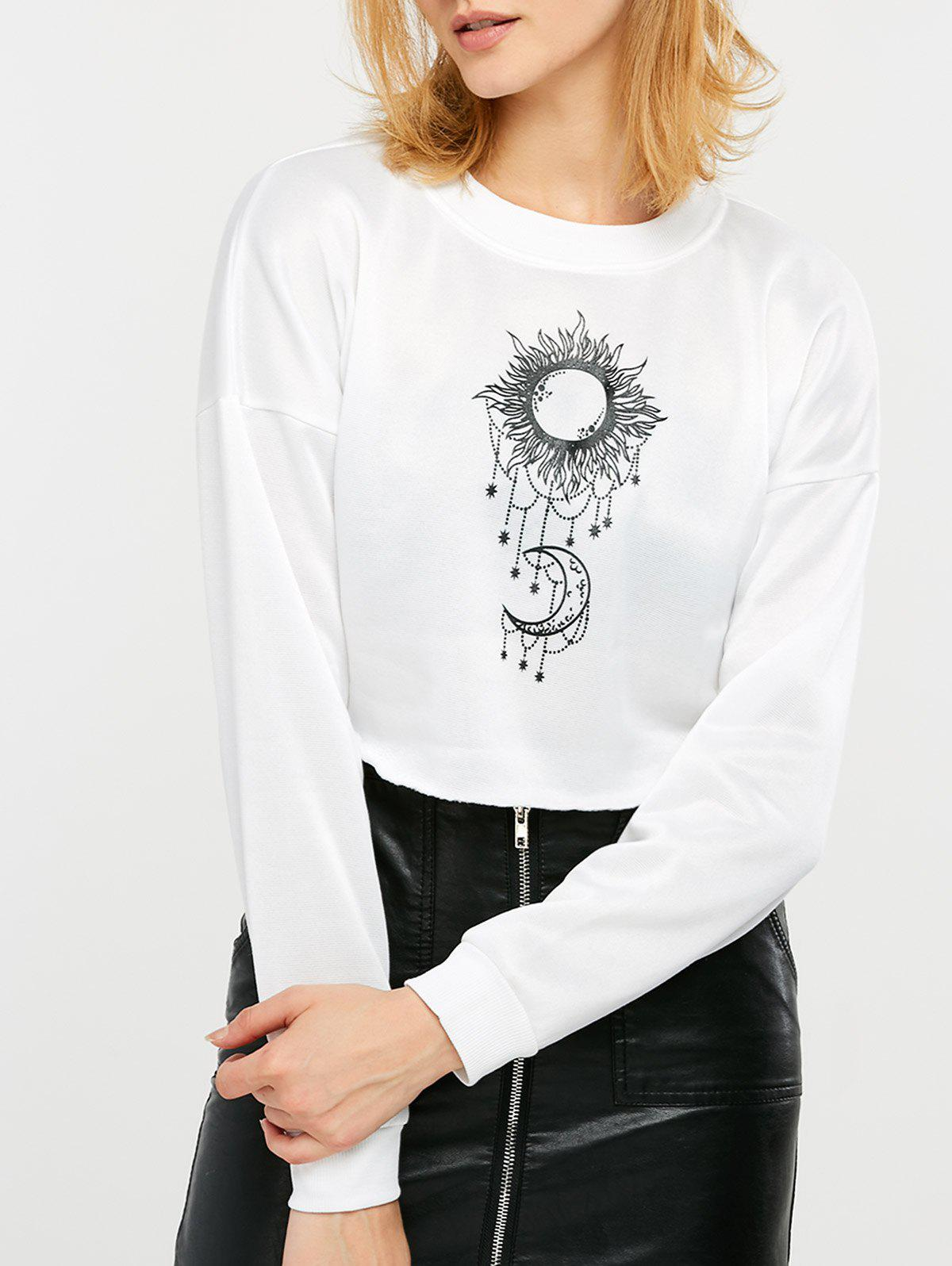 Sun and Moon Print Cropped Sweatshirt - WHITE S