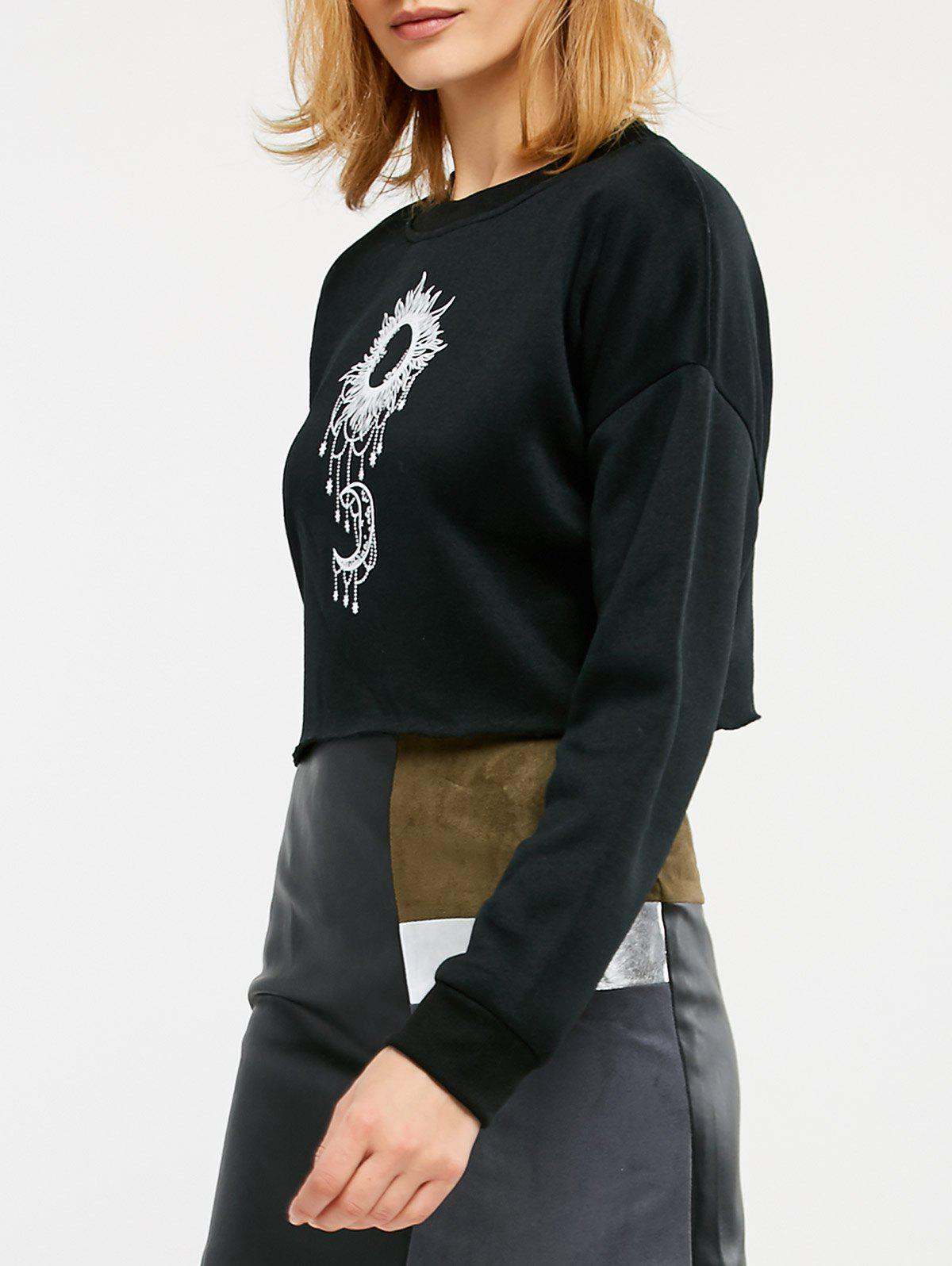 Sun and Moon Print Cropped Sweatshirt фото