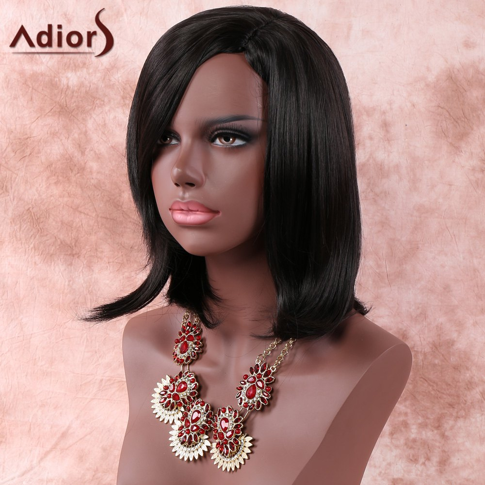 Women's Medium Side Parting Layered Straight Dark Brown Faddish Adiors Synthetic Hair Wig - BLACK BROWN