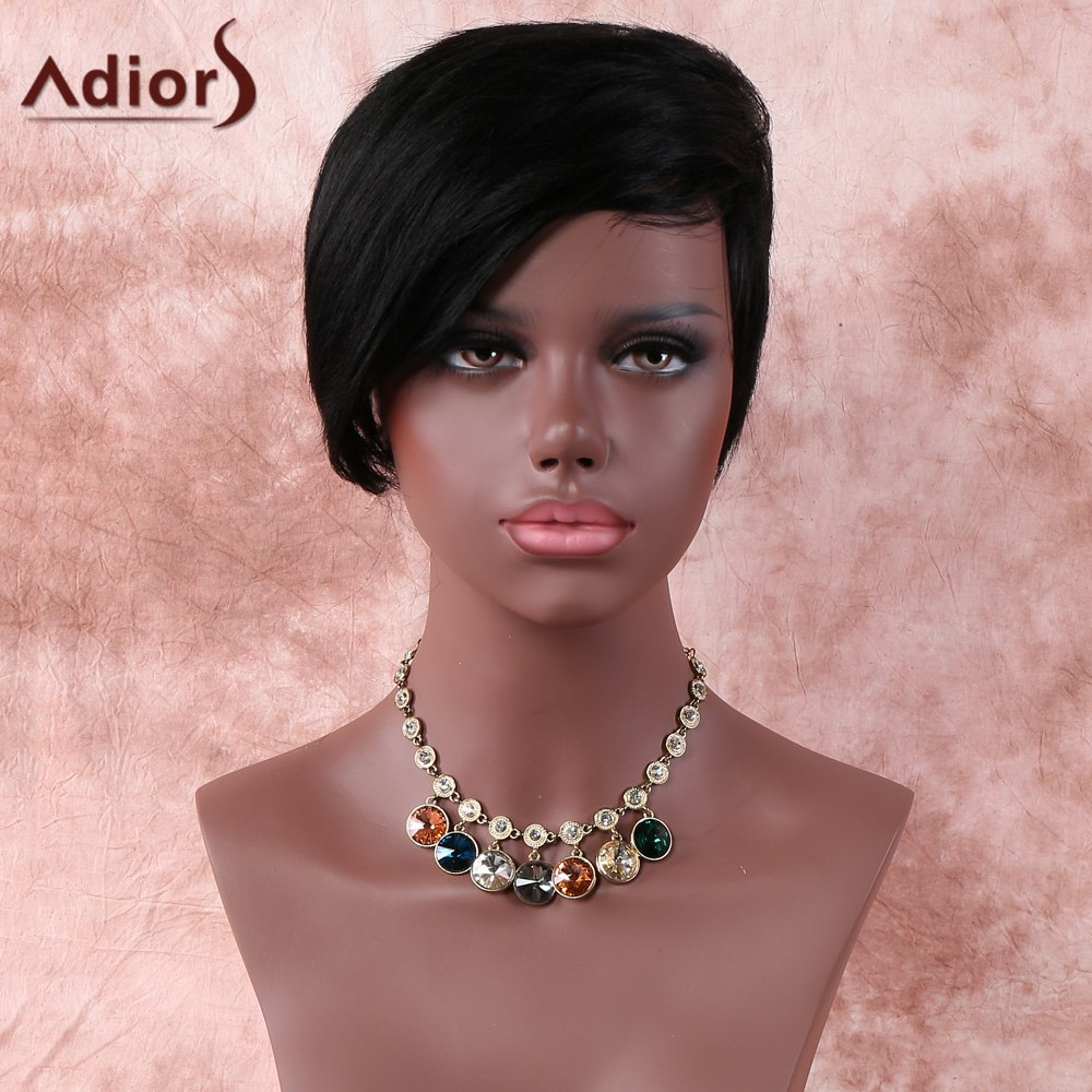 Natural Black Fashion Womens Short Straight Side Parting Synthetic WigHair<br><br><br>Color: BLACK