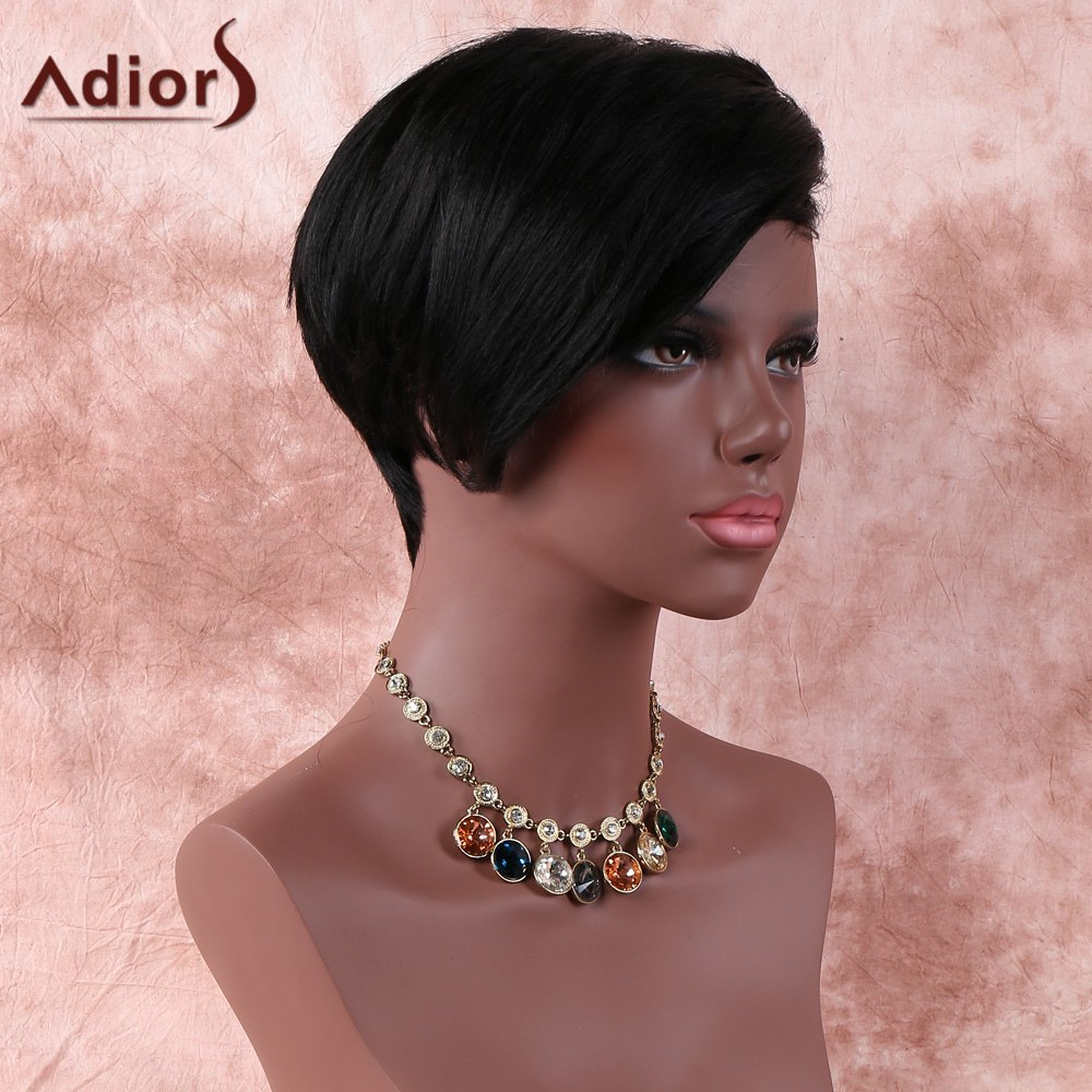 Natural Black Fashion Women's Short Straight Side Parting Synthetic Wig - BLACK