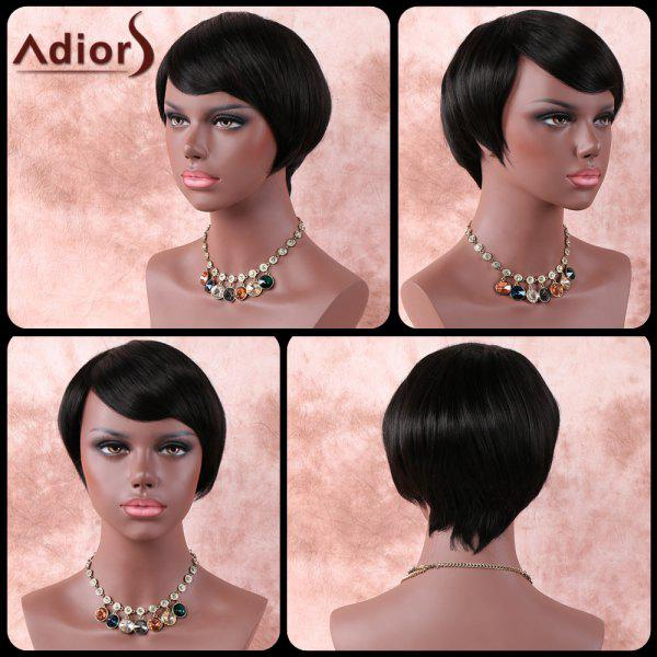 Silky Straight Short Inclined Bang High Temperature Fiber WigHair<br><br><br>Color: BLACK