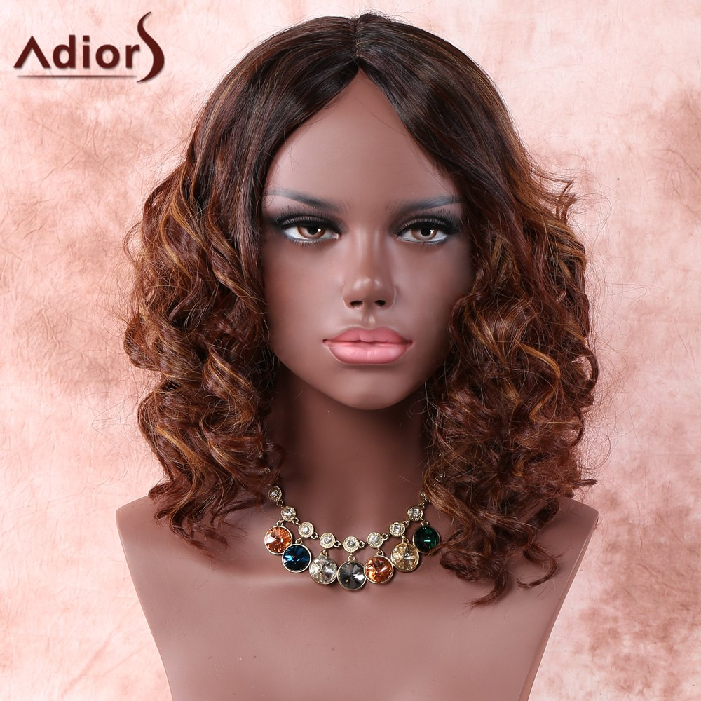 Side Parting Medium Ombre Curly Synthetic WigHair<br><br><br>Color: COLORMIX