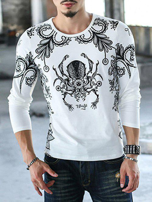 Printed Round Neck Casual T-Shirt - WHITE 2XL
