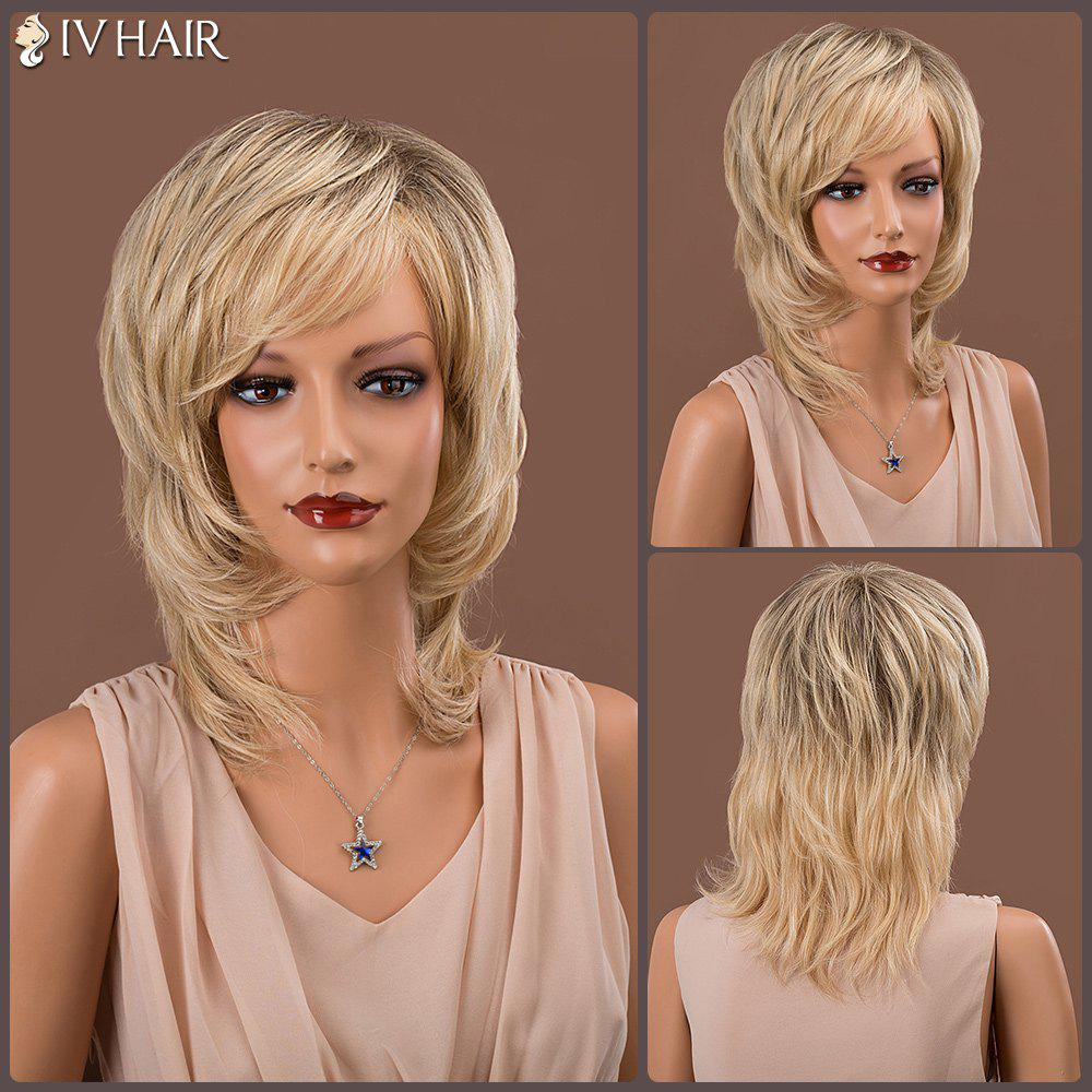 Oblique Bang Medium Layered Straight Colormix Siv Human Hair Wig - COLORMIX